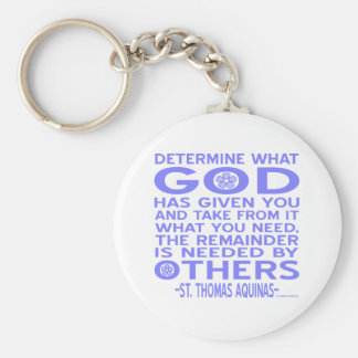 Thomas Aquinas God Given Light Blue Basic Round Button Key Ring