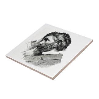 Thomas Carlyle Vintage Portrait Small Square Tile