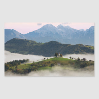 Thomas church and mountains, Slovenia rectangle Rectangular Sticker