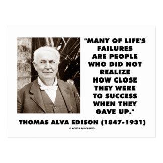 Thomas Edison Failures Close To Success Gave Up Postcard