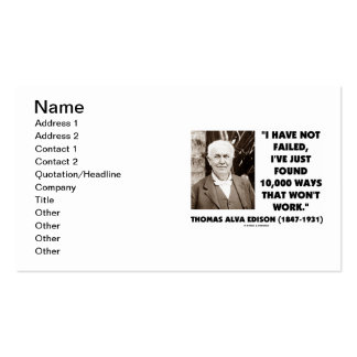 Thomas Edison I Have Not Failed Found 10,000 Ways Pack Of Standard Business Cards