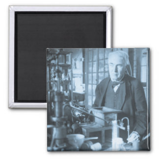 Thomas Edison in His Lab Stereoview Cyan Toned Square Magnet