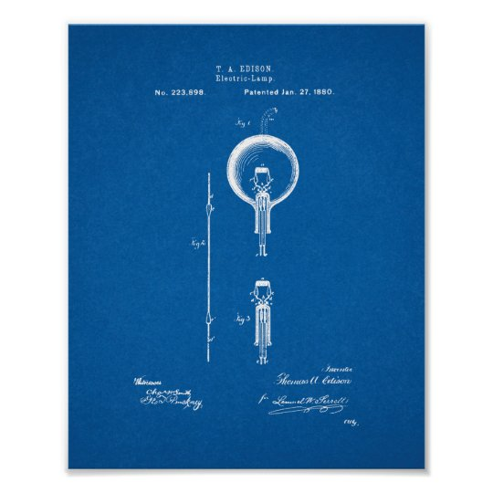 Thomas Edison Light Bulb Patent - Blueprint Poster