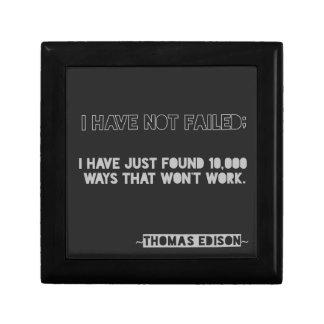 Thomas Edison Quote 10,000 Ways Typography Small Square Gift Box