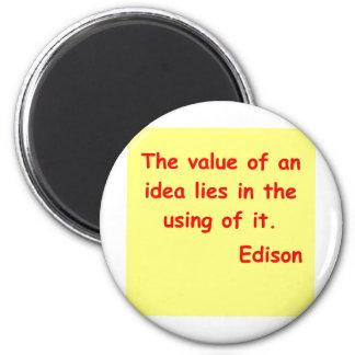 Thomas Edison quote 6 Cm Round Magnet