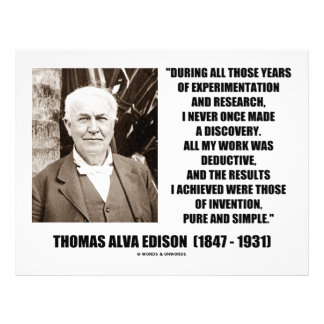 Thomas Edison Results Invention Pure Simple Quote Flyers