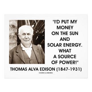 Thomas Edison Sun Solar Energy Source Of Power Flyer Design