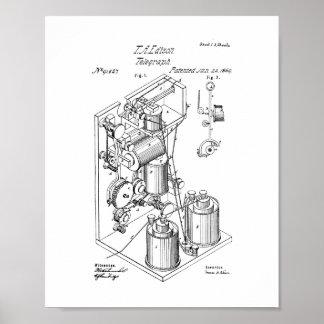 Thomas Edison Telegraph Patent Poster