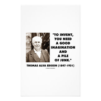 Thomas Edison To Invent Imagination Pile Of Junk Personalized Stationery