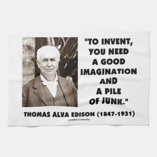 Thomas Edison To Invent Imagination Pile Of Junk Tea Towel