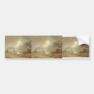 Thomas Gainsborough:Coastal scene,shipping,figures Bumper Stickers