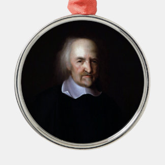 Thomas Hobbes by John Michael Wright Silver-Colored Round Decoration