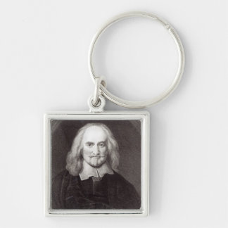 Thomas Hobbes  from 'Gallery of Portraits' Silver-Colored Square Key Ring