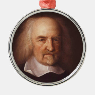 Thomas Hobbes of Malmesbury by John Michael Wright Silver-Colored Round Decoration