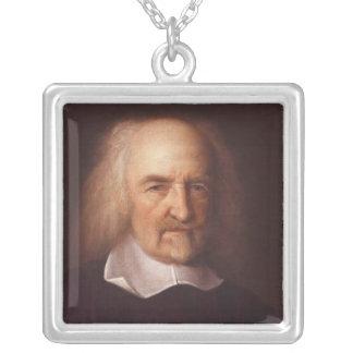 Thomas Hobbes of Malmesbury by John Michael Wright Square Pendant Necklace