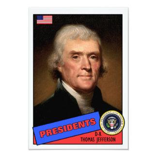 Thomas Jefferson Baseball Card 9 Cm X 13 Cm Invitation Card