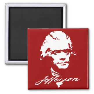 Thomas Jefferson in White Paint Square Magnet
