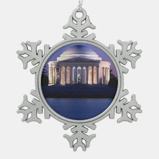Thomas Jefferson Memorial at Dusk Pewter Snowflake Decoration