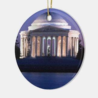 Thomas Jefferson Memorial at Dusk Round Ceramic Decoration
