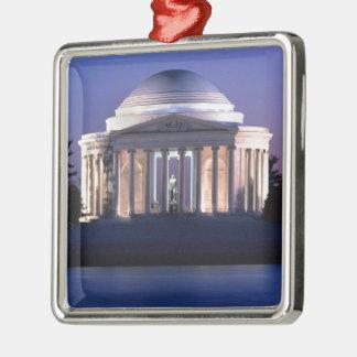 Thomas Jefferson Memorial at Dusk Silver-Colored Square Decoration