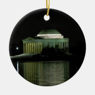 Thomas Jefferson Memorial at Night Round Ceramic Decoration