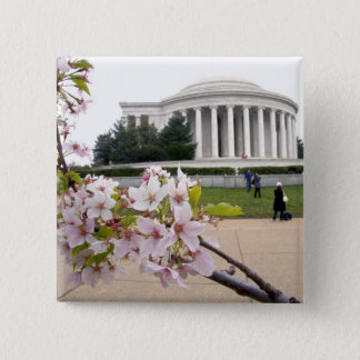 Thomas Jefferson Memorial with cherry blossoms 15 Cm Square Badge
