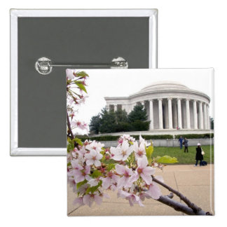 Thomas Jefferson Memorial with cherry blossoms 15 Cm Square Badge