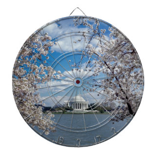Thomas Jefferson Memorial with Cherry Blossoms Dartboard With Darts