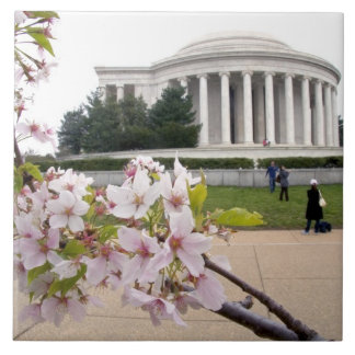 Thomas Jefferson Memorial with cherry blossoms Large Square Tile