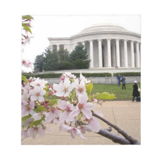 Thomas Jefferson Memorial with cherry blossoms Notepad