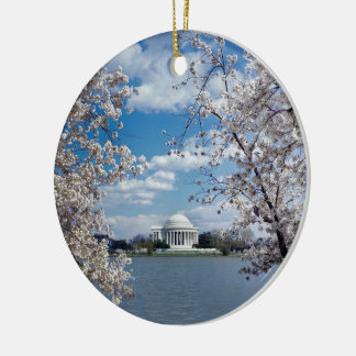 Thomas Jefferson Memorial with Cherry Blossoms Round Ceramic Decoration