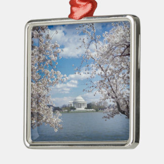 Thomas Jefferson Memorial with Cherry Blossoms Silver-Colored Square Decoration