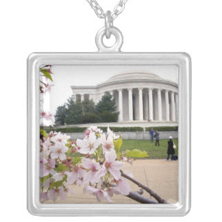 Thomas Jefferson Memorial with cherry blossoms Silver Plated Necklace