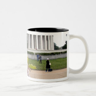 Thomas Jefferson Memorial with cherry blossoms Two-Tone Coffee Mug