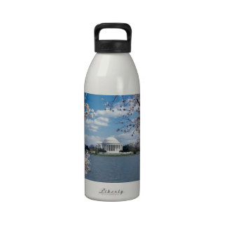 Thomas Jefferson Memorial with Cherry Blossoms Reusable Water Bottle