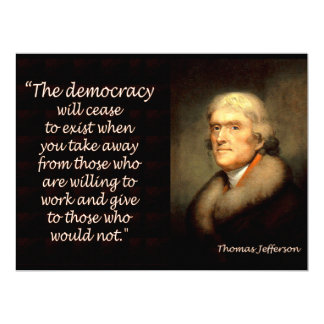 Thomas Jefferson on the End of Democracy 17 Cm X 22 Cm Invitation Card