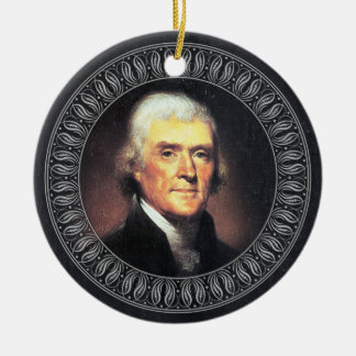 Thomas Jefferson Portrait and Quote - Double-sided Round Ceramic Decoration