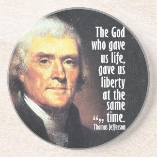 Thomas Jefferson Quote on God and Liberty Beverage Coasters