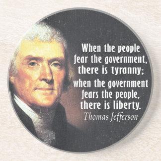 Thomas Jefferson Quote on Liberty Sandstone Coaster