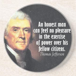 Thomas Jefferson Quote on Power Sandstone Coaster