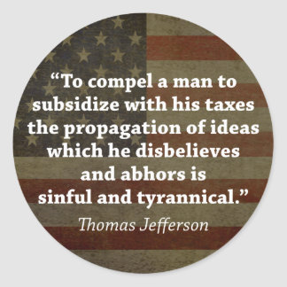 Thomas Jefferson Quote Round Sticker