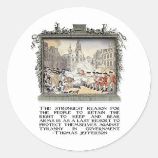 Thomas Jefferson Quote: Tyranny in the Government Classic Round Sticker