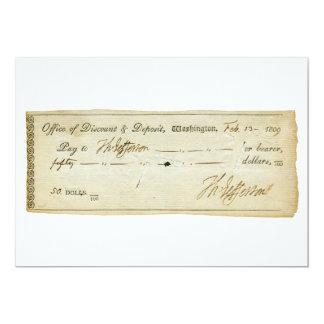 Thomas Jefferson Signature on Bank Check 1809 13 Cm X 18 Cm Invitation Card