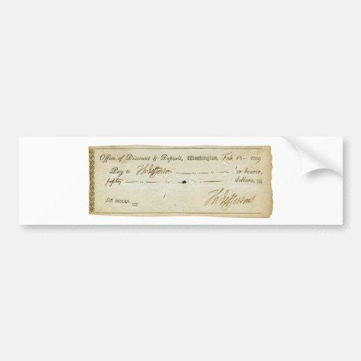 Thomas Jefferson Signature on Bank Check 1809 Bumper Stickers