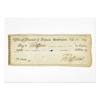 Thomas Jefferson Signature on Bank Check 1809 Personalized Invites