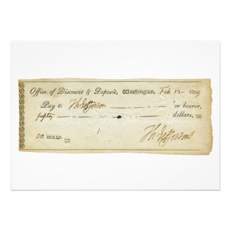 Thomas Jefferson Signature on Bank Check 1809 Personalized Invites