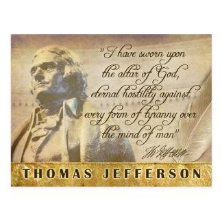 Thomas Jefferson statue and quote Postcard
