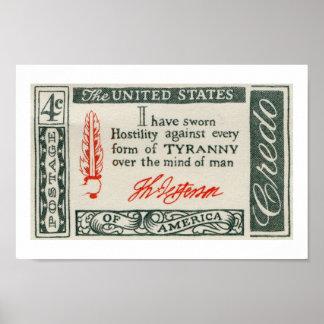 Thomas Jefferson Tyranny Credo 1960 Poster