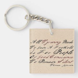 Thomas Jefferson - Tyranny Single-Sided Square Acrylic Key Ring