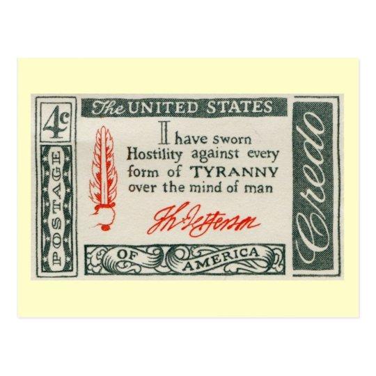 Thomas Jefferson Tyranny Vintage Postcard
